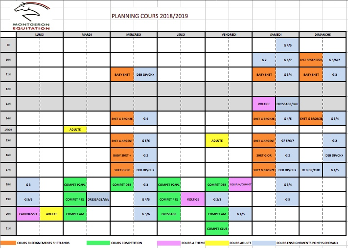 planning cours 2018 2019